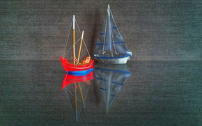 Picture reflection, model, sail, boat, canvas