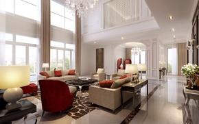 Picture villa, luxury, white living room