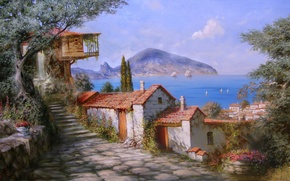 Wallpaper flowers, beauty, Paradise, Crimea, sea, tree, summer, mountain, picture, joy, houses, painting, Gurzuf, Miliukov Alexander, ...