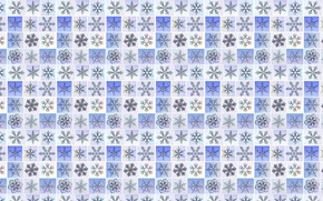 Picture snowflakes, mesh, figure, new year, stars, squares, grille, texture