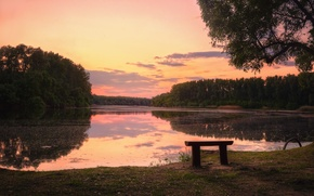 Picture sunset, lake, bench