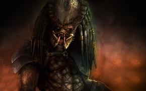 Picture face, the dark background, predator, alien, alien, predator