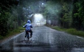 Picture road, rain, boy