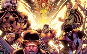 Picture storm, x-men, X-Men, wolverine, colossus, cyclops, nightcrawler, fenix