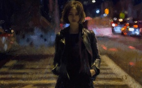 Picture road, girl, night, the city, street, jacket, hairstyle, Noir, strokes, Casey Baugh