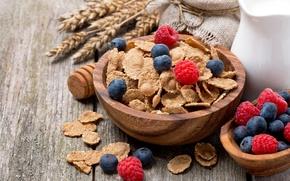 Picture raspberry, food, Breakfast, milk, blueberries, fruit, fruit, corn flakes, breakfast, milk, blueberries, raspberries, cornflakes
