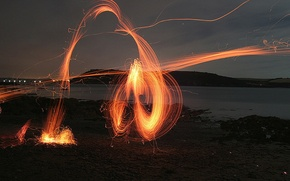 Wallpaper shore, the fire, Sparks