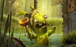 Wallpaper Rabbit, waste, toilet, swamp
