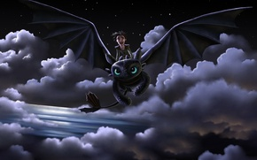 Picture flight, joy, night, dragon, guy, art, how to train your dragon, toothless, How to Train …