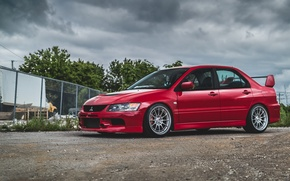 Picture Mitsubishi, Lancer, Red, Evo
