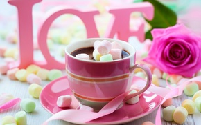 Picture colorful, wallpaper, love, rose, flower, pink, cup, chocolate, sweet, Valentine's Day, drink, coffee, passion, sugar, …