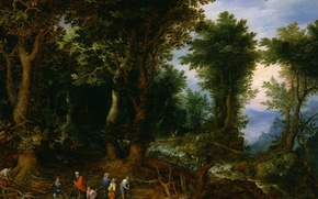Wallpaper A wooded Landscape with Abraham and Isaac, picture, Jan Brueghel the elder, mythology