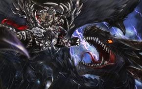 Picture zipper, dragon, monster, art, battle