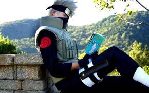 Picture book, naruto, reads, cosplay, sensei Kakashi