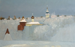Picture Church, temple, Nikolay Y. Anokhin, Russian winter