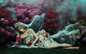 Picture girl, flowers, veil, Bella Kotak