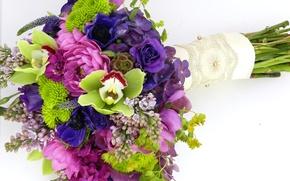 Picture photo, Flowers, Bouquet, Lilac, Roses, Orchids, Hydrangea, Anemones
