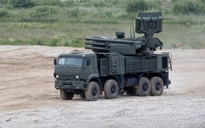 Picture weapons, polygon, Russian, complex, self-propelled, Pantsir-S1, missile and gun, anti-aircraft, (Zrpk)