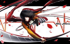 Picture look, girl, weapons, petals, scarf, indifference, pulse, swords, art, shingeki no kyojin, mikasa ackerman, LancerX