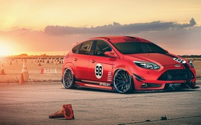 Picture Ford, Shelby, Red, Car, Focus, Front, Sun, Tuning