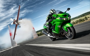 Picture road, speed, racer, kawasaki, zx14