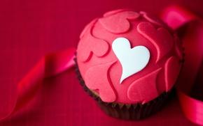 Picture heart, cake, dessert, cakes, glaze, cupcake