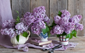 Picture bouquets, books, scissors, lilac