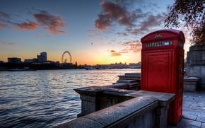 Wallpaper England, London, UK, london, london eye, bridge, sunset, england, thames, telephone