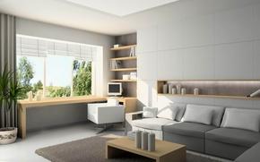 Picture window, room, interior, home, sofa