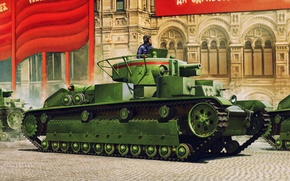 Picture war, art, painting, tank, ww2, T-28 Medium Tank (Early)