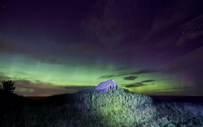 Picture stars, landscape, house, Northern lights, hill