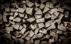 Picture wood, black and white, Pile of Wood