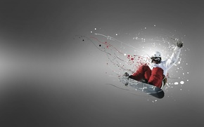 Picture flight, jump, Board, snowboarder
