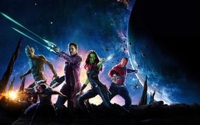 Picture space, stars, weapons, fiction, planet, Zoe Saldana, comic, Rocket, Zoe Saldana, Guardians Of The Galaxy, …