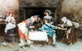 Picture picture, painting, painting, Italian artist, 1890, good health and good fortune, Francesco Vinea