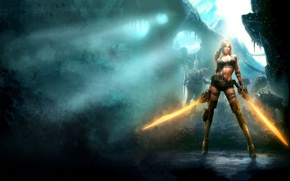 Picture chest, girl, fire, boots, heels, swords, Blades of Time