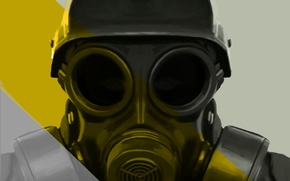 Picture background, soldiers, gas mask, Art, helmet
