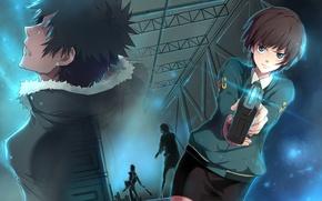 Wallpaper girl, weapons, guy, psycho-pass, tsunemori akane, kougami shinya
