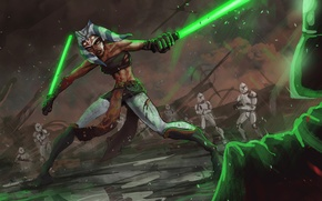 Picture star wars, star wars, the Jedi, Darth Vader, clones, Ahsoka Tano