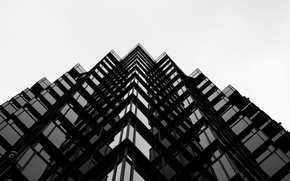 Picture windows, design, lines, Barcelona, black and white, Spain, buildings, architecture, reflections, b/w