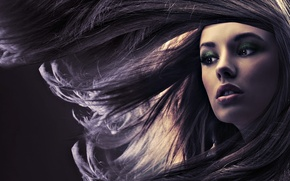 Picture girl, face, the wind, hair, makeup