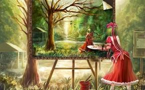 Picture landscape, paint, picture, dress, draws, kagiyama hina, oto taku