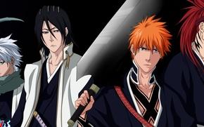 Picture sword, ice, game, Bleach, anime, katana, man, boy, Ichigo, bankai, captain, asian, Kurosaki Ichigo, manga, …