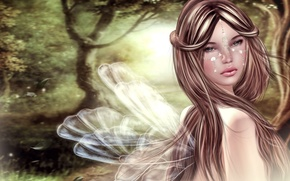 Picture look, rendering, girl, wings, background, face, hair