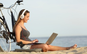Wallpaper sea, beach, summer, girl, joy, bike, smile, music, mood, stay, relax, romance, positive, blur, headphones, ...