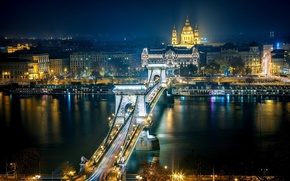 Picture road, night, the city, river, building, home, excerpt, lighting, architecture, Hungary, Budapest, The Danube, Budapest, …