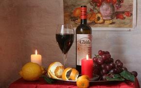 Picture wine, lemon, candles, grapes, still life
