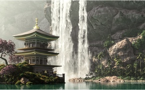 Wallpaper 3DLandscapeArtist, waterfall, pagoda, mountains, flowering tree, water