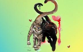 Picture cat, cat, mustache, love, cats, cats, heart, figure, color, spring, watercolor, a couple