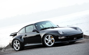 Picture black, turbo, Porsche, gravel, Porsche 911